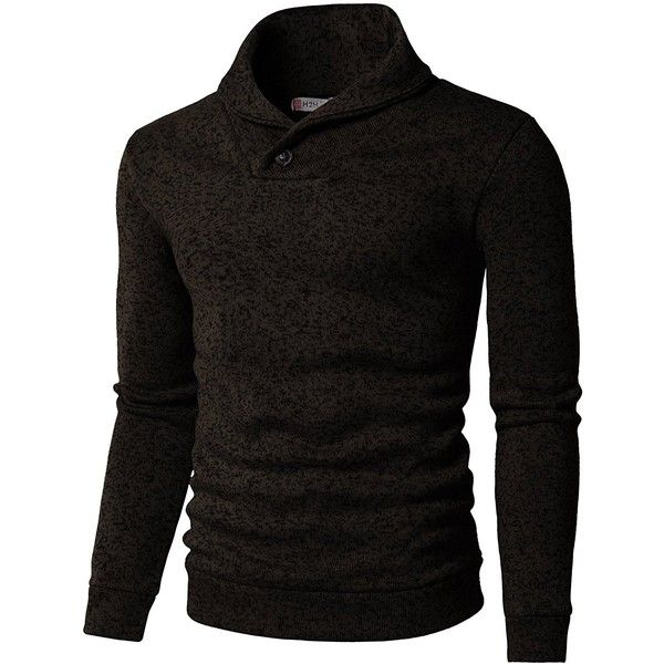 H2H Mens Knitted Slim Fit Pullover Sweater Shawl Collar With One... ($34) ❤ liked on Polyvore featuring men's fashion, men's clothing, men's sweaters, mens slim fit sweaters, mens sweaters and mens shawl collar sweater