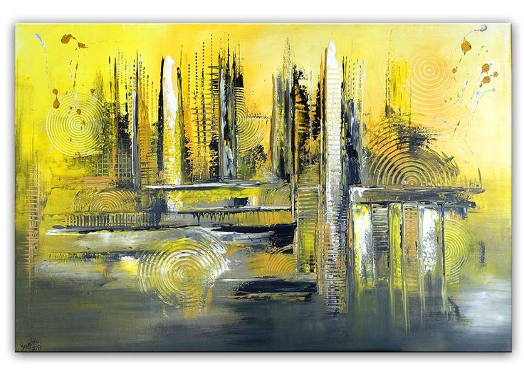 BURGSTALLER Gemälde Malerei Sahara gelbes abstraktes Acrylbild gelb ocker grau