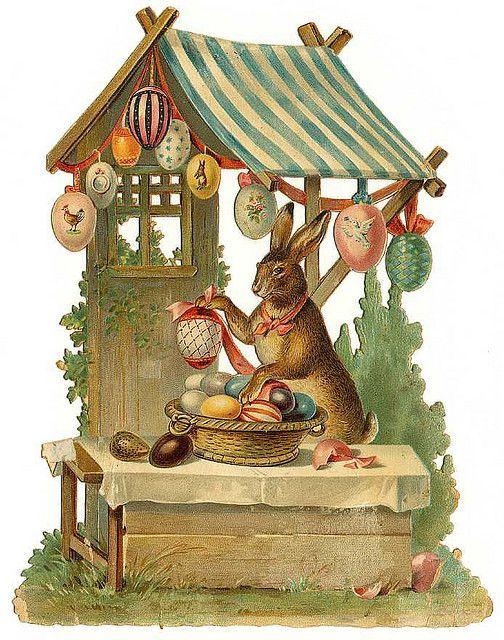 Happy Easter! Easter Bunny, Eggs, Art, Illustration, Vintage Card