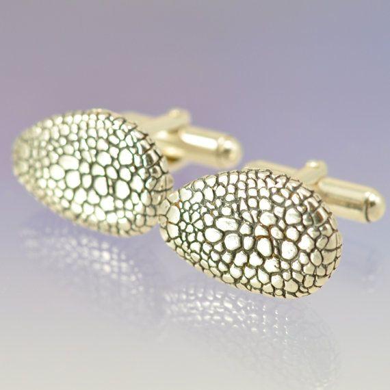 Snakeskin cufflinks in silver
