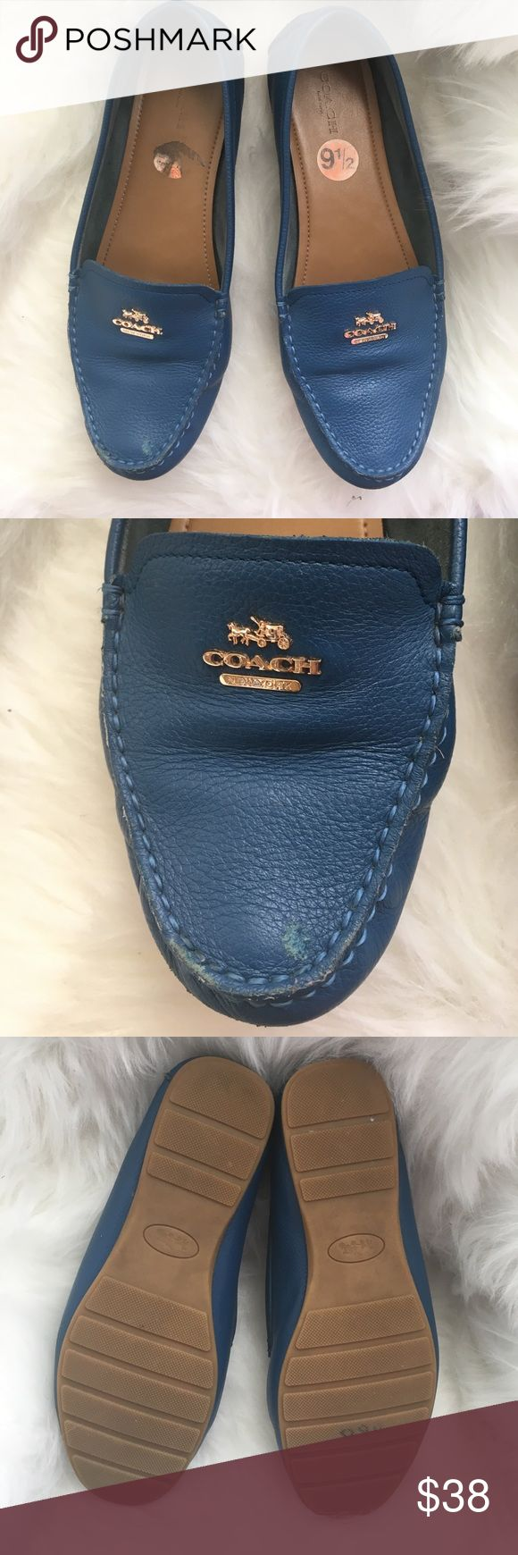 Coach Flats Size 9 These are very comfortable size 39 EUR and 9 US. There's a small nick on the front of one shoe shown in the pictures. Still have lots of Life in them Coach Shoes Flats & Loafers