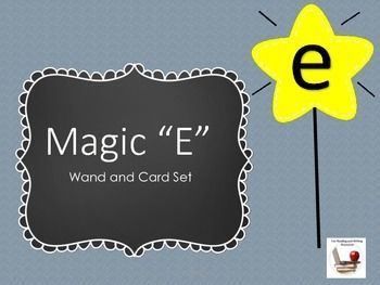 """Magic E Wand and Cards Set. Students will have fun making CVCe words with these magic e wands! They will master the difference between short vowel and silent """"e"""" spelling patterns in this activity. Includes :6 large magic e cards20 large short vowel CVC word cards 12 small magic e cards40 small short vowel CVC syllable cardsTeacher DirectionsStudent Recording SheetDirections: Print, cut out and laminate the magic e stars and attach to craft sticks with tape or glue.Print out the short CVC…"""