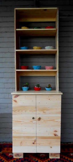 Kitchen cabinet - made from pallet wood by jasper & george, colourful ceramic bowls by Maureen Visage: Pallets Wood, The Block, Pallet Wood