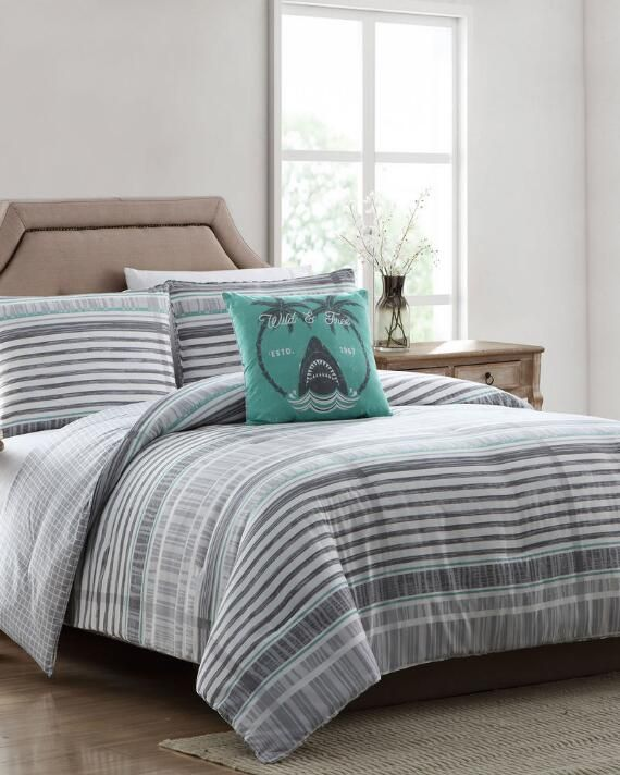 3 Piece Harvey Striped Comforter Set In 2020 Comforter Sets Comforters Queen Comforter Sets