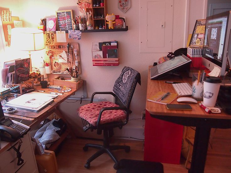 The lovely folks at Working Not Working did a little feature on me; I thought I'd share the little behind the scenes snippets of my studio space I shot for it. This space is little, but comfortable.* I do wish I had slightly better lighting– eventually I need to get a replacement light for my drawing area. You can see my newest studio addition, an adjustable standing desk (The hardware is from Stand Desk, and the top's an Ikea bamboo, if anyone's curious)! I have been using it for about four…