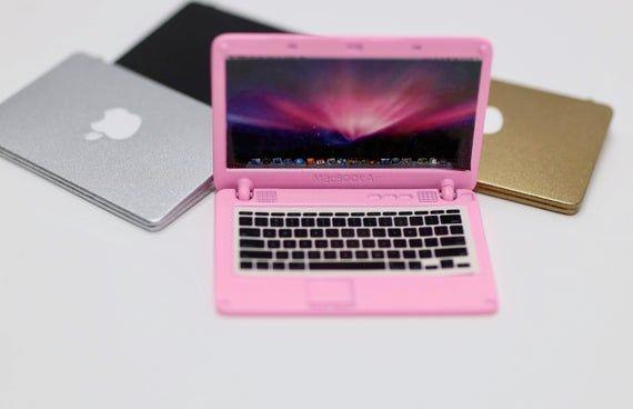 Delicate Dollhouse Mini Laptop Notebook Dollhouse Miniature Accessories Pink