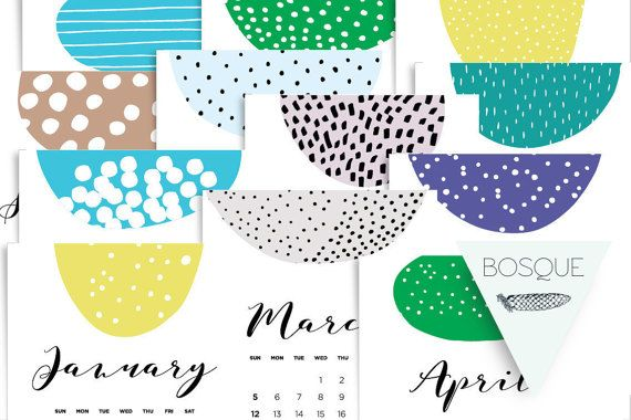 2017 Calendar Printable X 3 sizes A5 A4 Us by bosquegraphicdesign
