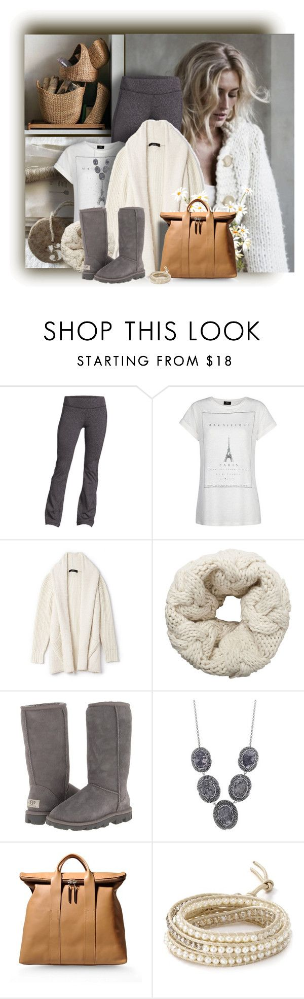 """""""Cozy and warm"""" by sherry7411 ❤ liked on Polyvore featuring Pottery Barn, Old Navy, MANGO, Forever 21, Vero Moda, UGG Australia, Soru Jewellery, 3.1 Phillip Lim, Chan Luu and cozy"""