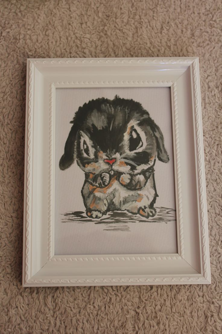 This is a little watercolour painting of a Bunny