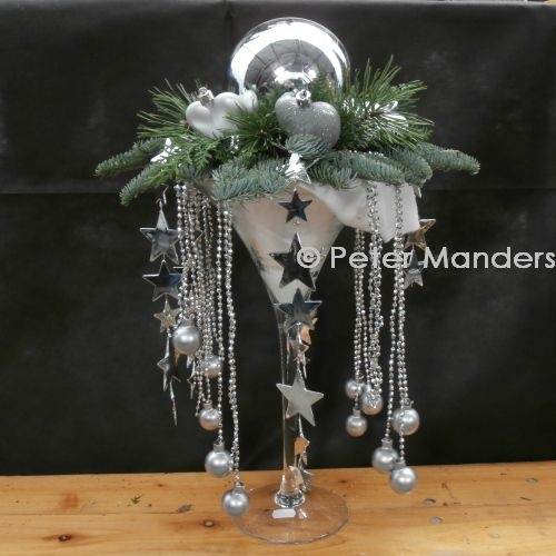 Champagne Glass with Silver Balls, Hearts, etc.