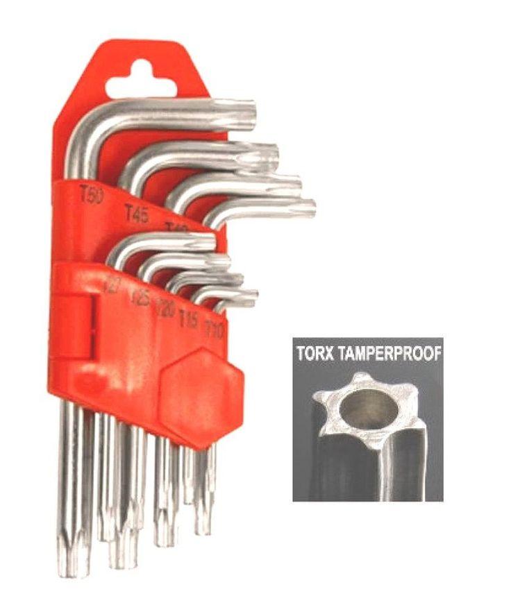 9 PC Tamper Proof Hollow Star Torx Hex Key T10 T15 T20 T25 T27 T30 T40 T45 T50