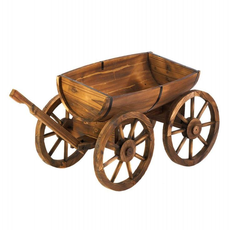 Make your yard bloom with rustic charm as the green leaves of your favorite potted plants or herbs peek out from this outdoor wagon decor. This wagon is made from half of a wooden apple barrel, and the wooden wagon wheels that are expertly crafted. | eBay!