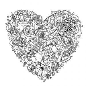 Mandala corazón de rosas