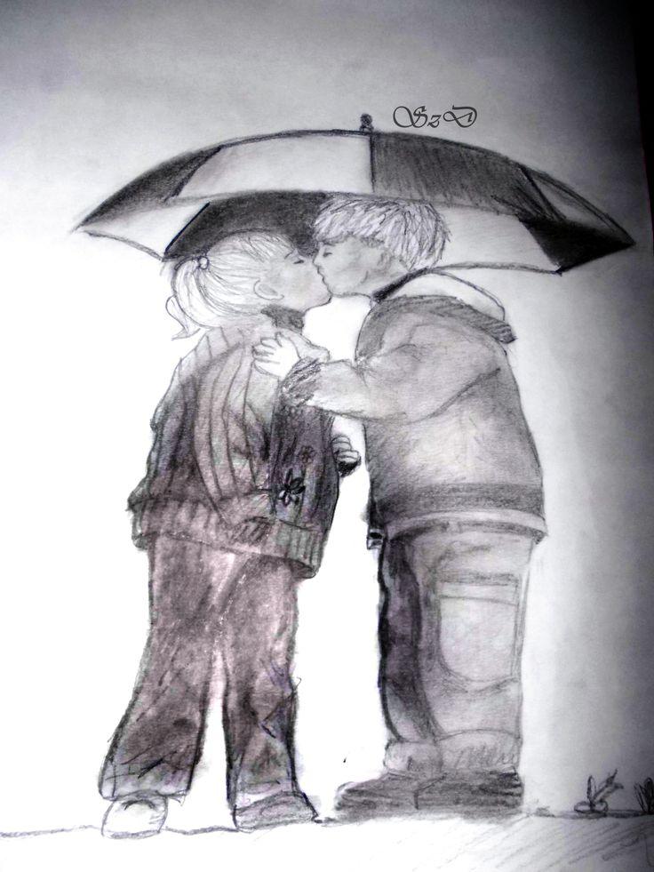 #little #children #love #drawing #pencil #umbrella #kiss