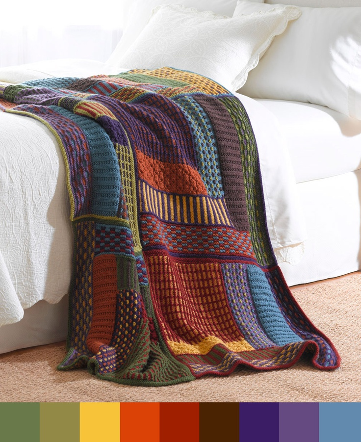 Slip Stitch Sampler Throw with color palette. How pretty!