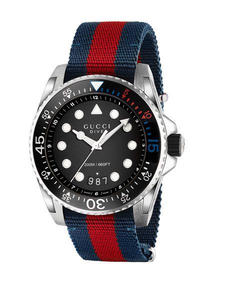 86c8c2902c9 45mm Gucci Dive Watch w  Nylon Web Strap