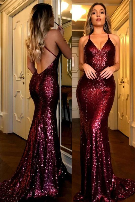 Chicloth Sexy 2019 Sequined Prom Dresses Burgundy V-Neck Open Back Mermaid Evening Gowns