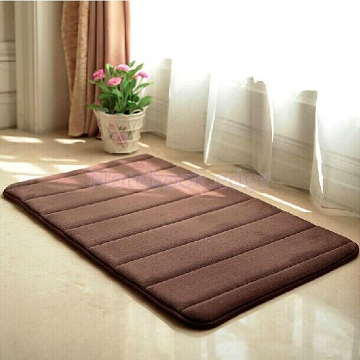 Absorbent Memory Foam Bathroom Living Room Floor Mat Rug Anti-Slip - Brown