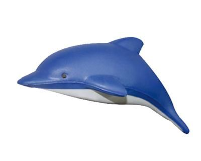 STRESS DOLPHIN – S56  Price includes 1 color, 1 position print   2 Color imprint available for an additional charge  Decoration option: Pad print  Print Size: Side 25mm x 10 mm, Stomach 30mm x 10 mm  Product Size: 120mm x 57mm x 42 mm