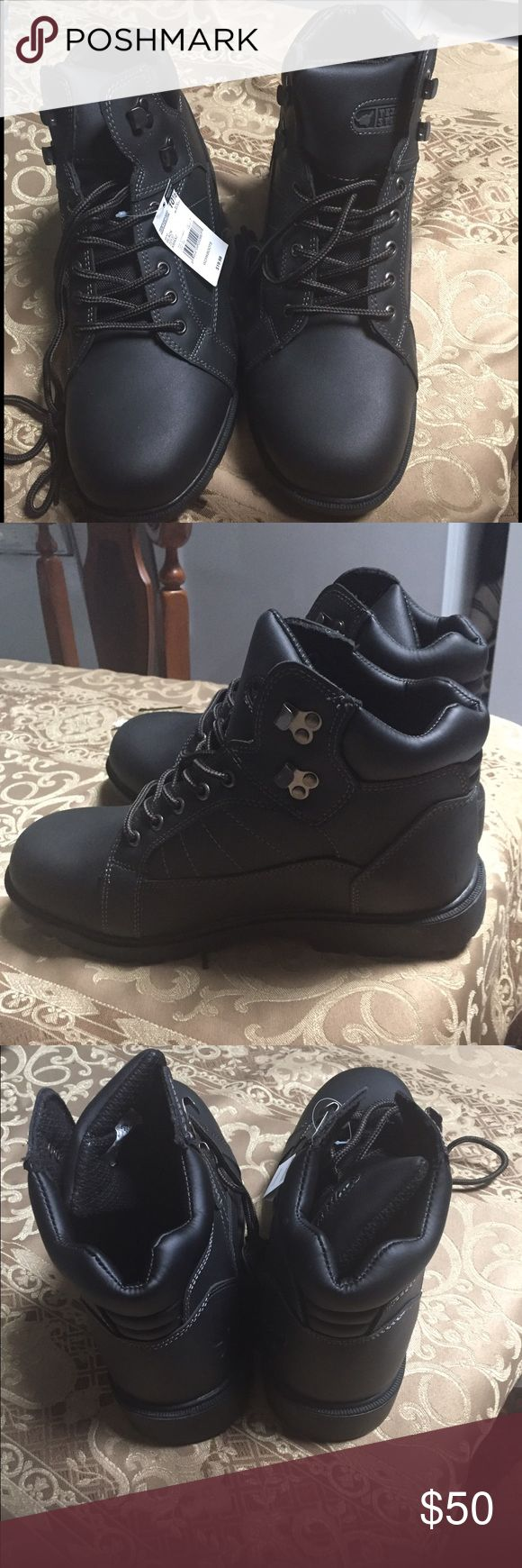 Men's black work boots ‼️‼️SALE‼️BUY NOW‼️ Men's black work boots ‼️NEVER WORN ‼️Does not come in original box‼️comes with tags‼️ size 10.5 Shoes