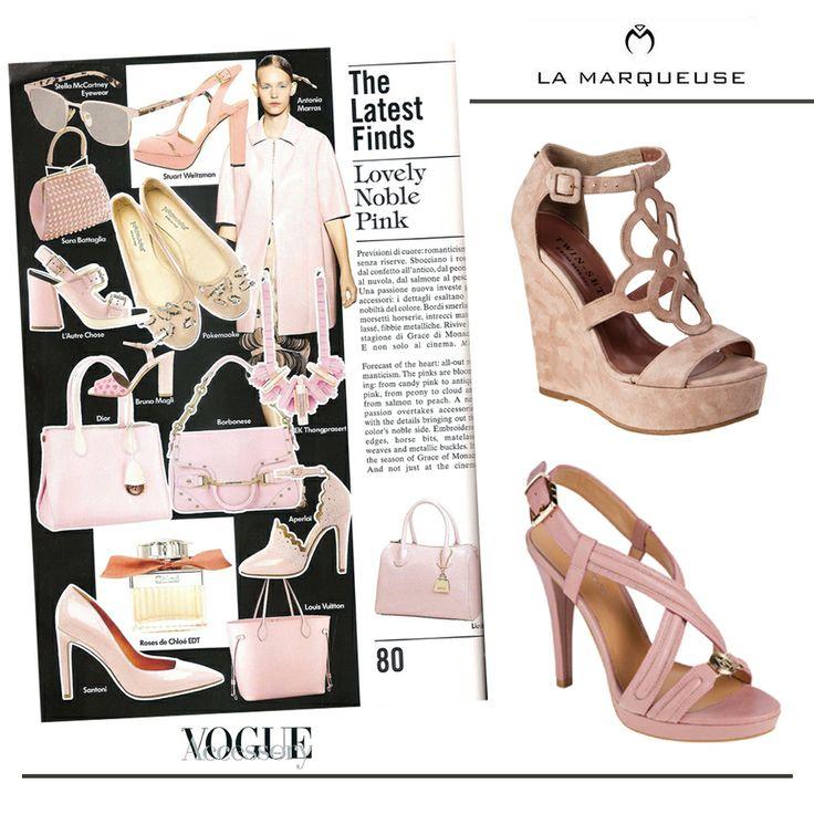 Piękny pudrowy róż powinien być obecny w Waszych stylizacjach tego lata:) ..: #Armani #ArmaniJeans #TwinSet #LaMarqueuse #Vogue #dodatki #akcesoria #accessory #koturny #szpilki #shoes #platforms  :...