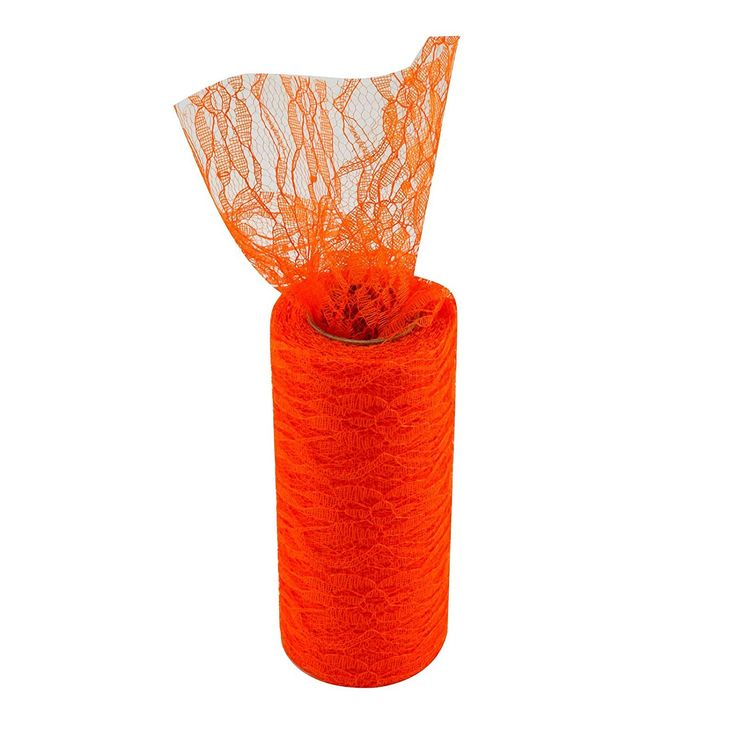 Vlovelife Orange 6'x 10Yards Vintage Lace Roll Netting Lace Fabric Polyester Tulle Roll For Tutu Skirt Table Runner Chair Sash Bow DIY Wedding Party Art Craft Decor (1 Roll, Orange) -- Details can be found by clicking on the image.