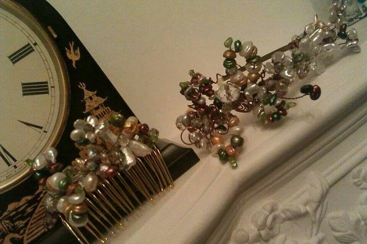 Real pesrl and crystal tiara and matching combe