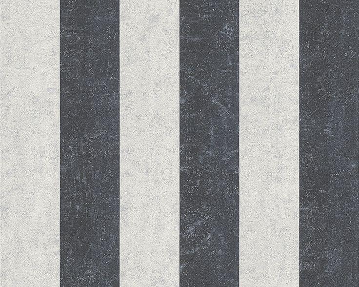 Precio por rollo.  Medida del rollo 10 ml x 0.53 m ancho  Disponible para enviar en 15 días.  Papel pintado de la colección Bohemien Burlesque de elegantesrayas con efecto cemento en tonos grises y negros, jaspeados con una pátina de plata. Cada raya mide 9 cm. Material de alto gramaje que le proporciona alta resistencia y máxima lavabilidad.  Calcula cuántos rollos necesitas»