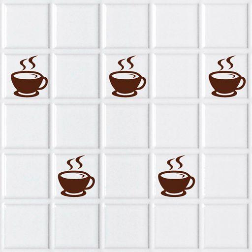Tazas de caf de vinilo para colocar en los azulejos de for Azulejos de los