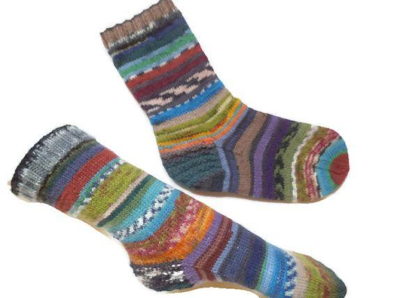 Hand knit socks Odd socks scrappy socks wool knit socks