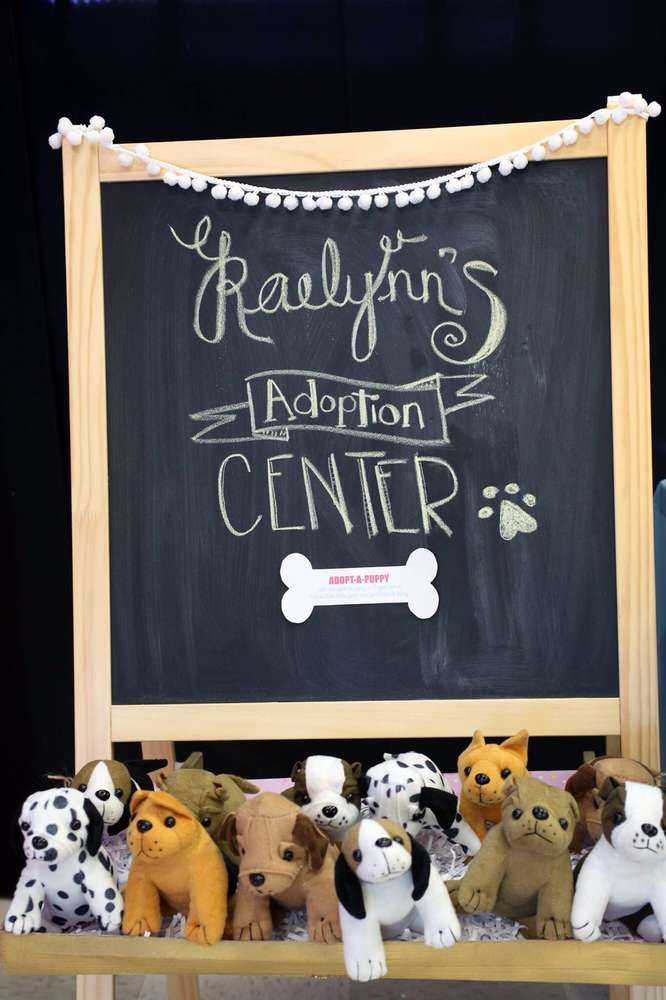 Adopt a puppy at a pets birthday party! See more party ideas at CatchMyParty.com!