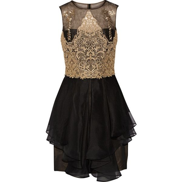 Marchesa Notte Guipure lace and silk-organza mini dress ($455) ❤ liked on Polyvore featuring dresses, mini dress, black, draped dress, short dresses, lace overlay dress and slimming dresses