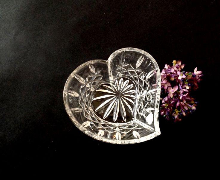 Vintage Waterford Crystal Lismore Pattern Heart Shaped Bowl - BEAUTIFUL