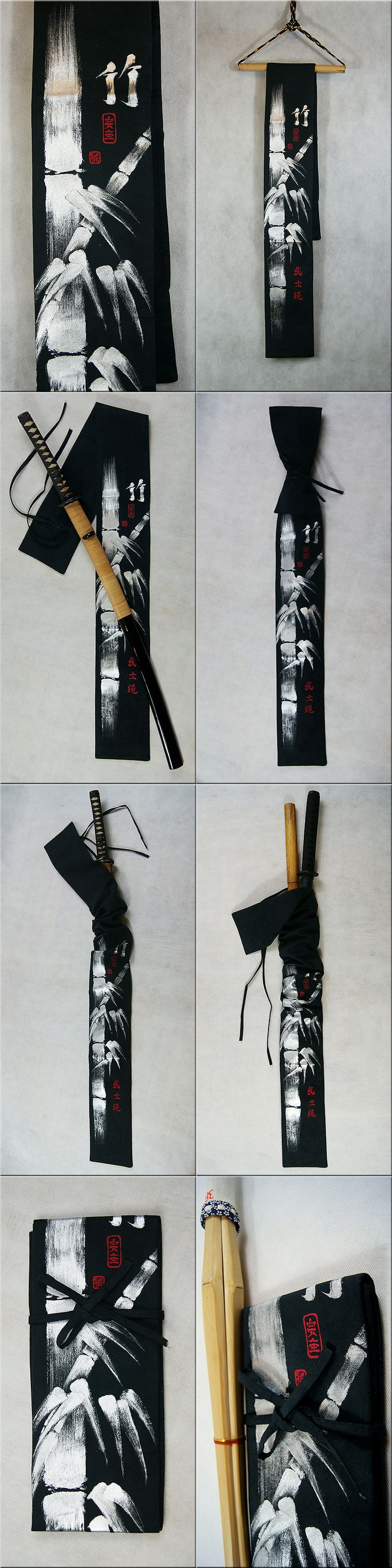 Exclusive hand painted suede sword bag. Black with shiny silver bamboo design (it is not a print).