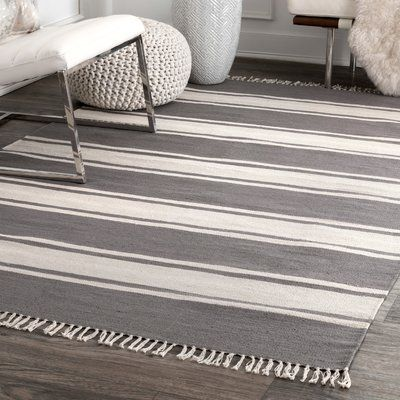 Breakwater Bay Ripon Cotton Gray Ivory Area Rug Area Rugs Rugs Black Area Rugs