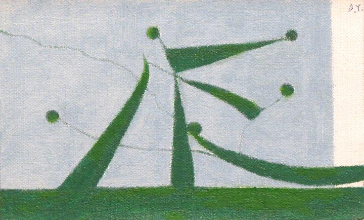 «Albero: l'esplosione lentissima di un seme» [Bruno Munari]. Enrico Della Torre, Infiorescenza, 2013, olio su tela, cm. 9,4x15,3.