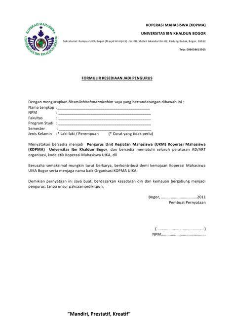 Contoh Surat Kesediaan Menjadi Pengurus Hmi Contoh Surat Kesediaan