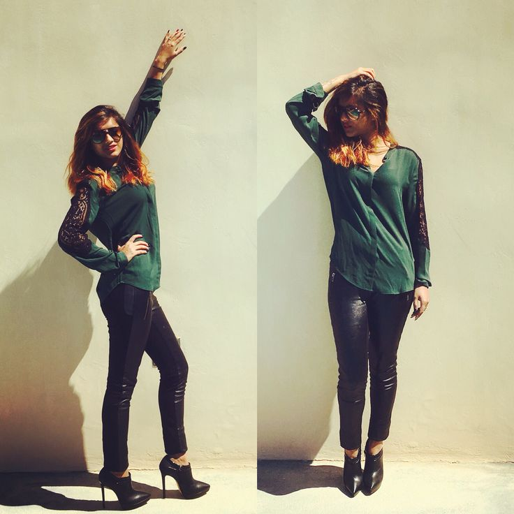 Spring Chic Outfit Dark Green silk shirt with black lace on the arms Leather black trousers Black high heels