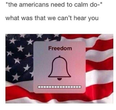 i can't hear you cause my FREEDOM is so loud and i just saw a BALD EAGLE fly over my house with an AMERICAN FLAG and a SHOTGUN followed by some FIREWORKS spelling USA and screaming LIBERTY