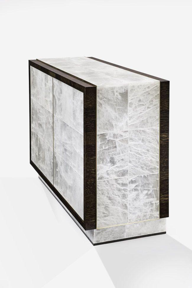 Atelier Viollet cabinet in gypsum, palmwood & gilt bronze, designed by…