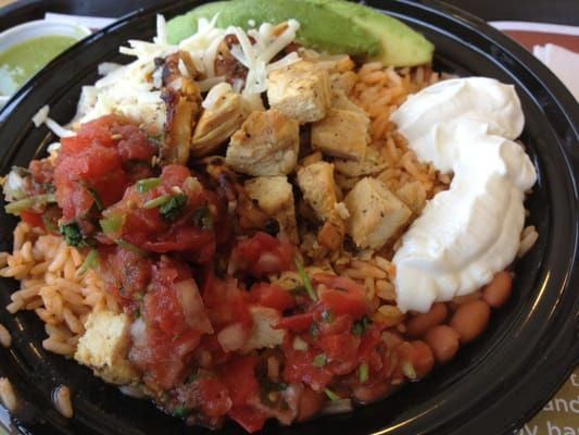 CHICKEN BOWL  El Pollo Loco Chicken Bowl   For the Chicken:  1/4 cup corn oil  1/4 cup melted butter  1/2 teaspoon onion powder  1/2 tea...