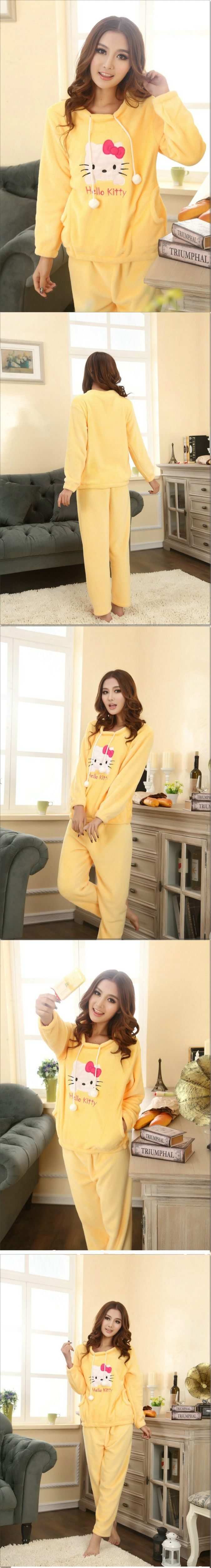 Thick Coral Fleece Indoor Clothes Hello Kitty Clothes Hello Kitty Pajamas Pink and Yellow