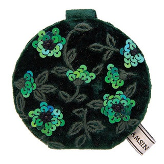 This compact mirror has a plush velvet outer and features the amazing Clematis design.