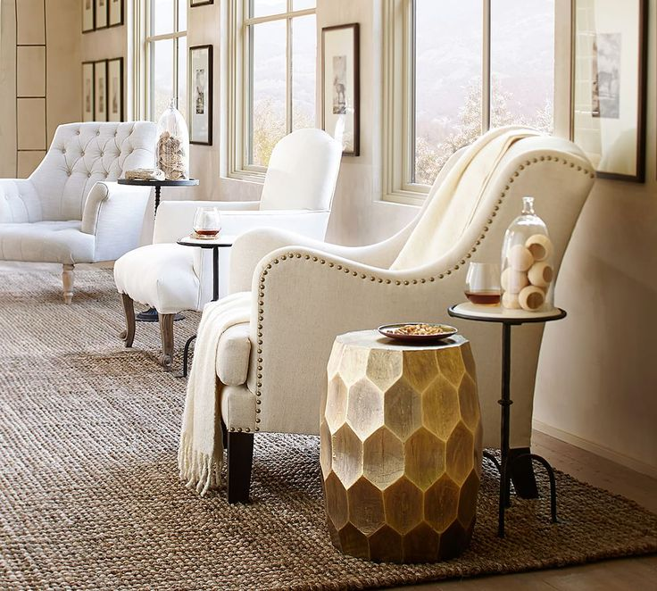 Vince Accent Stool With Nottingham Upholstered Chair From Pottery Barn
