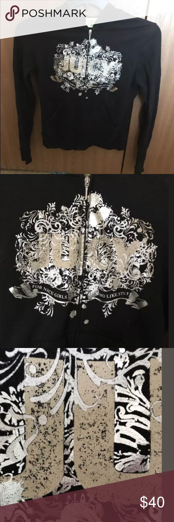 Juicy couture black and silver hoodie  large From smoke free home!! this black and metallic silver juicy hoodie is in good condition no rips stains or tears Measurements Shoulder to shoulder 18 armpit armpit 18 shoulder to bottom hem 23 Juicy Couture Tops Sweatshirts & Hoodies
