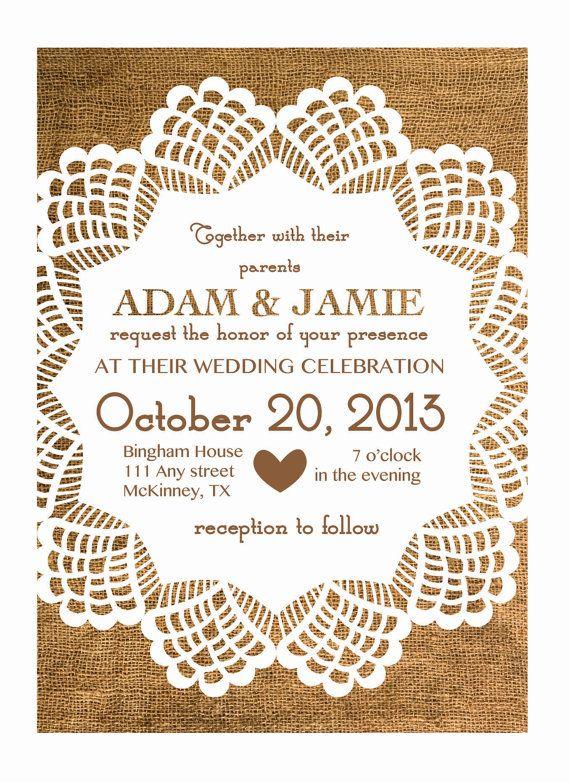 Rustic Burlap & Lace Wedding Invitation -- Printable File with Custom Colors--  DIY