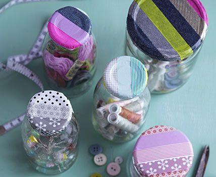 washi tape jar lids