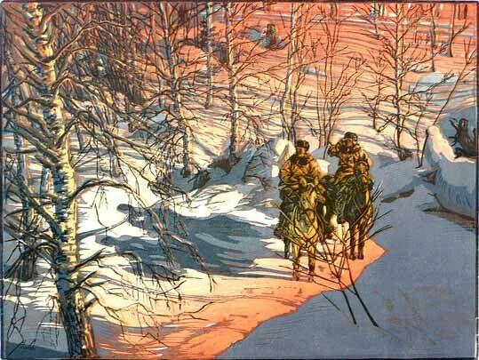 """Графика. Эстамп. Бумага, цветная линогравюра,  И. А. Соколов. """"В тылу врага"""". 1943г."""
