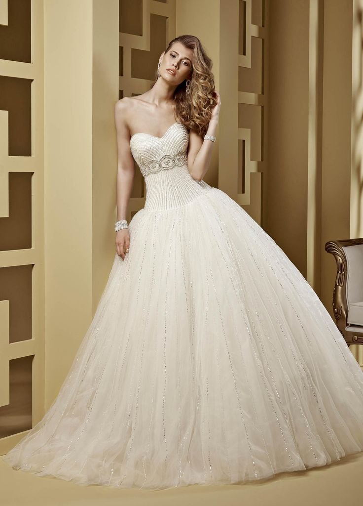 2015 Ball Gown Sweetheart Sequin Beading Chapel Train Tulle Wedding Dresses