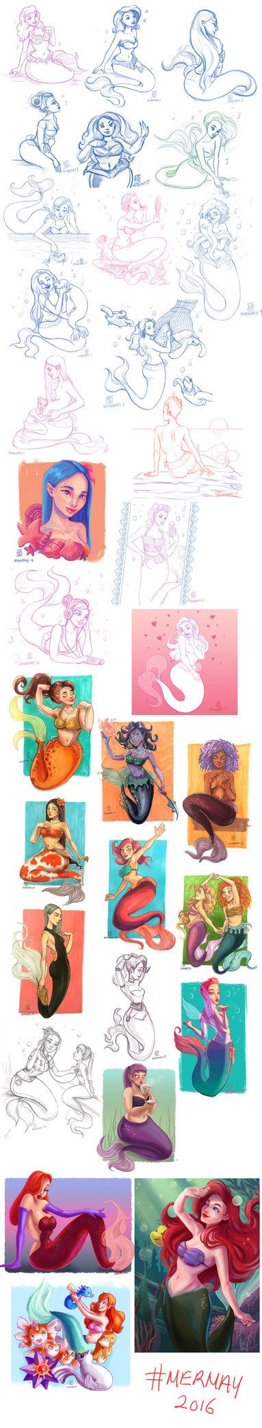 This was a pretty great challenge! I'd never drawn a mermaid before this. Ever. I don't know why! Anyway, I used it as an opportunity to try out different things; styles, mediums, ideas, everything...